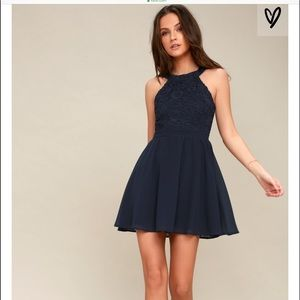 Lulu's Lover's Game navy lace skater dress size XL